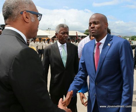 PHOTO: Haiti PM Jack Guy Lafontant greets President Jovenel at the Airport