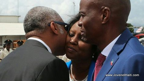 PHOTO: Haiti PM Jack Guy Lafontant greets First lady Martine Moise at the Airport