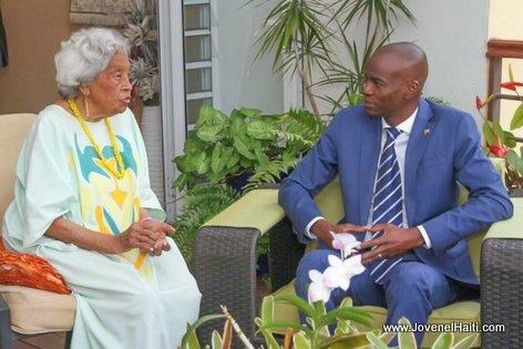 PHOTO: Haiti - Mme Odette Roy Fombrun & President Jovenel Moise