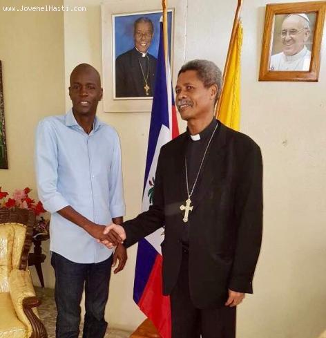 Président Jovenel Moise rencontre Monseigneur Gontrant Décoste, Diocèse de Jérémie