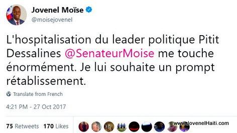 Haiti President Jovenel Moise souhaite un prompt retablissement a Moise Jean Charles