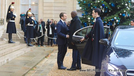 Haiti President Jovenel Moise arriving at Élysée Palace in Paris to meet with President Emmanuel Macron