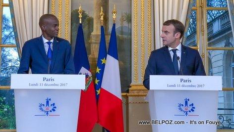 Haiti President Jovenel Moise in Paris with President Emmanuel Macron