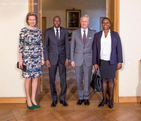PHOTO: Haiti President Jovenel Moise, his wife Martine, King Philippe and Queen Mathilde of Belgium
