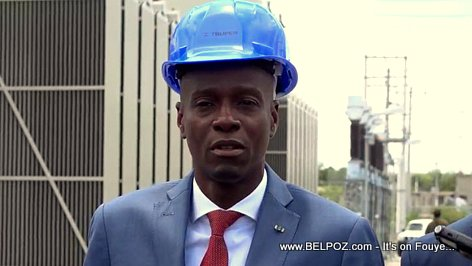 Haitian President Jovenel Moise visits an electrical substation in Tabarre