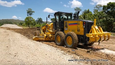 Belladere Haiti - The Ministry of Public Works (MTPTC) working on the new Boulevard