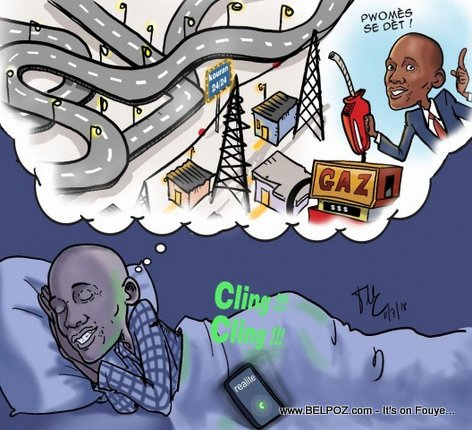 Haiti Caricature: President Jovenel Moise  is dreaming about Roads in Haiti and Electricity 24/7 (Le Nouvelliste)