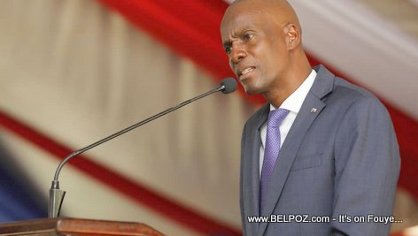 President Jovenel Moise speaking at the Haitian Police Academy