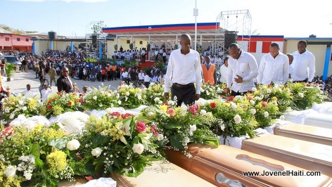 PHOTO: Haiti - President Jovenel Moise attends Gonaives Bus Victims Funeral