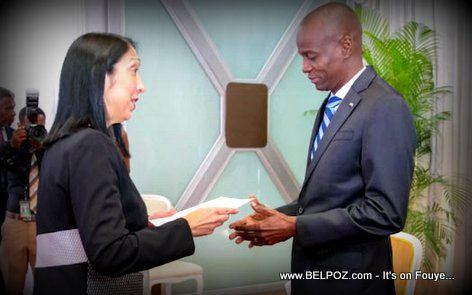 PHOTO: Haiti President Jovenel Moise and US Ambassador Sison