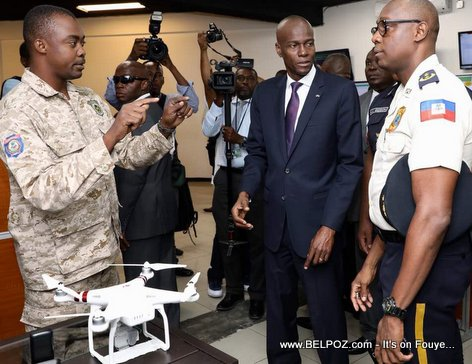 Haiti Police Headquarters, President Jovenel Moise being shown a Haitian police drone