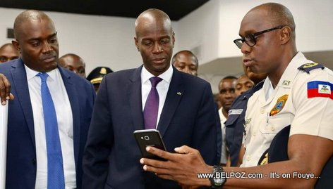PHOTO: Ardouin Zéphirin and Haiti President Jovenel Moise at PNH Police Headquarters