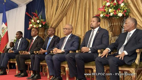 Haitian Presidents and Prime Ministers at official presentation ceremony of PM Henry Ceant