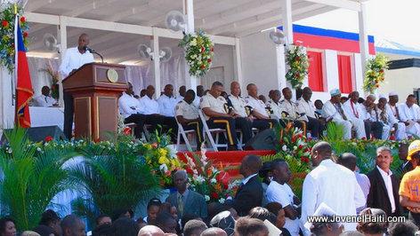 PHOTO: Haiti - President Jovenel Moise speaking Gonaives Bus Victims Funeral