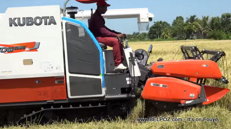 New Kubota Combine Harvester introduced in Artibonite Rice production by Haitian President Jovenel Moise