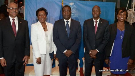 PHOTO: Haiti Prime Minister Jack Guy Lafontant, Enex Jean-Charles, and President Jovenel Moise