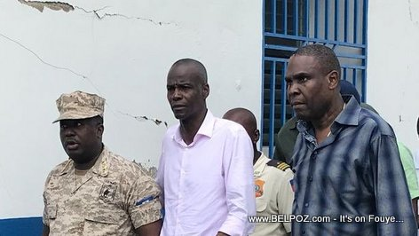 President Jovenel Moise and PM Ceant at Gros-Morne Police Station, damaged after the October earthquake