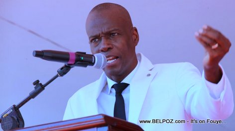 President Jovenel Moise speaking in Marchand Dessalines, 17 October 2018
