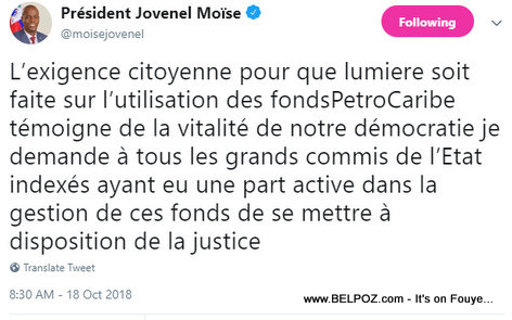 President Jovenel Tweet to State officials accused of PetroCaribe wrongdoing to face Justice