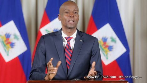 Jovenel Moise delivering a message to the people of Haiti