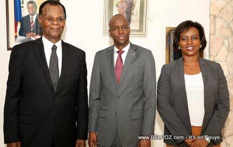 Ex president Boniface Alexandre, Haiti President Jovenel Moise and First Lady Martine Moise