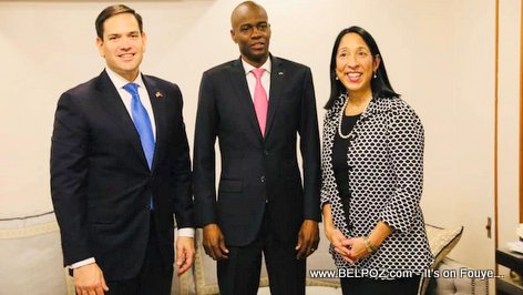 U.S. Senator Marco Rubio, Haiti president Jovenel Moise and U.S. Ambassador to Haiti Michele J. Sison