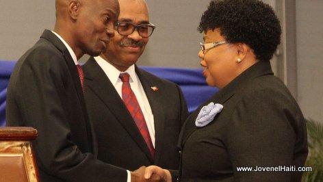 PHOTO: Haiti - President Jovenel Moise and Marie Greta Roy Clement, Ministre de la Sante Publique et de la Population (MSPP)