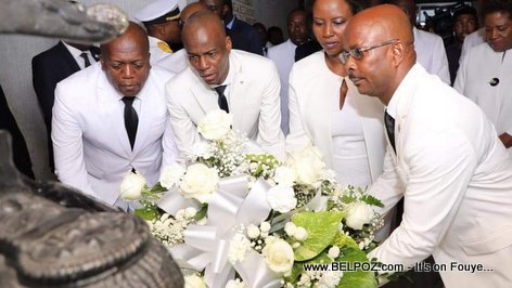 President Jovenel Moise and Prime Minister Lapin depositing flowers at MUPANAH to honor Jean-Jacques Dessalines
