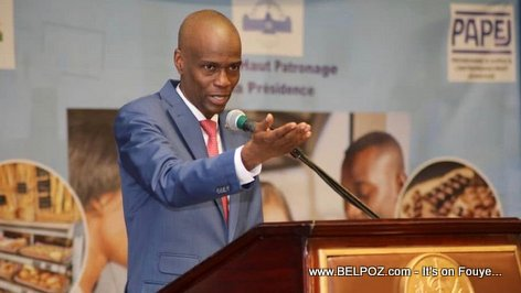President Jovenel Moise speaking to young entrepreneurs in Haiti
