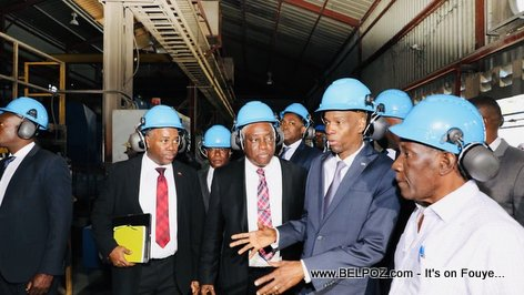 President Jovenel Moise is taking a tour inside Varreux Power Plant