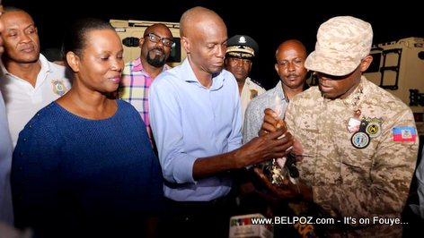 President Jovenel Moise inspects new police armored vehicles
