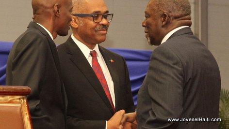 PHOTO: Haiti - President Jovenel Moise and Herve Denis, Ministre de la Defense