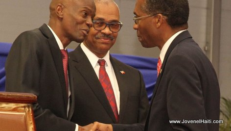 PHOTO: Haiti - President Jovenel Moise and Antonio Rodrigue, Ministre des Affaires Etrangères et des Cultes