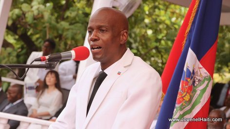 PHOTO: Haiti - President Jovenel Moise giving his speech at arcahaie Haitian flag day 2017