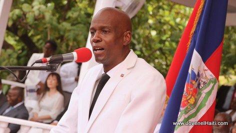PHOTO: Haiti - President Jovenel Moise giving his speech at arcahaie Haitian flag day 2017