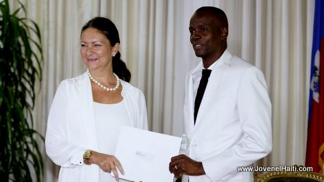 PHOTO: Haiti President Jovenel Moise and Norway Ambassador Ingrid Mollestad